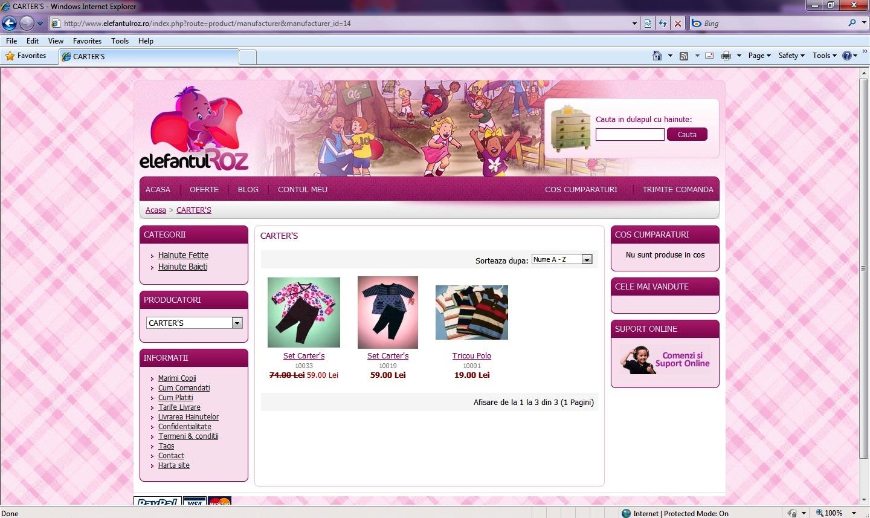 Elefantul roz - hainute pentru baieti si fete.